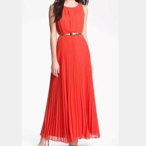 Eliza J Pleated Chiffon Maxi Dress Sz S